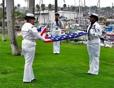 Honor Guard for Military Honors before boarding yacht for Burial at Sea.