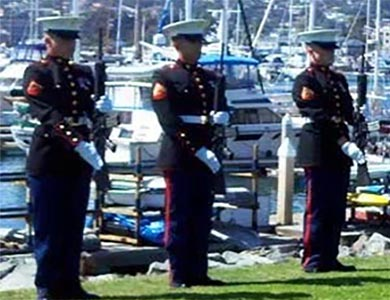 Rifle Guard for Military Honors before boarding yacht for sea burial