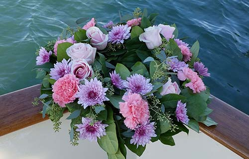 Wreath - Purple rose for scattering at sea