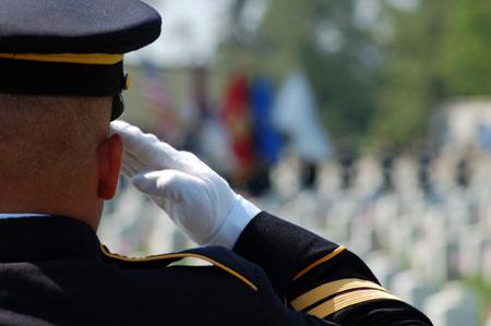 Veteran sea burial - Salute at Cemetery